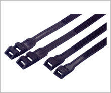 China Nylon Double Locking Industrial Cable Ties Reusable Black Color Heat Resistant supplier