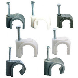 China Square Shaped Plastic Cable Clips , Plastic Electrical Wire Clamp White / Black Color distributor