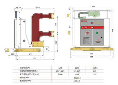 China VS1-12/630A  Medium Voltage Safety solid pole  Indoor Vacuum Circuit Breaker VCB factory