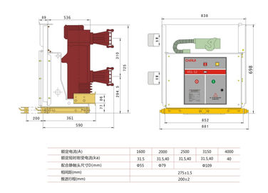 China ZN63-12/1600A High Voltage Safety solid pole  Indoor Vacuum Circuit Breaker factory